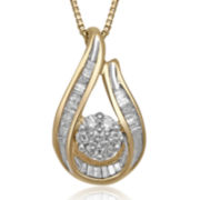 diamond blossom 1/4 CT. T.W. Diamond 14K Yellow Gold Over Sterling Silver Pendant Necklace