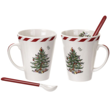 jcpenney.com | Spode® Christmas Tree Set of 2 Peppermint Mugs with Spoons