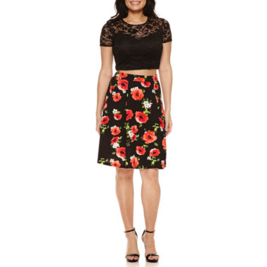 jcpenney.com | Bisou Bisou Lace Top/Poppy Print Skirt Set