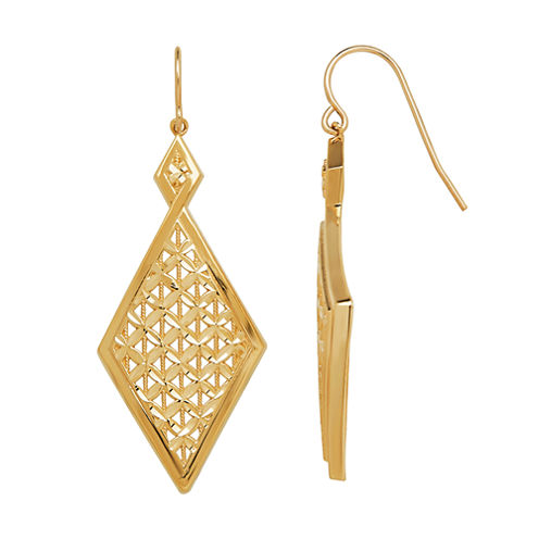 Limited Quantities 14K Yellow Gold Double Diamond-Shaped Drop Earrings