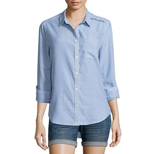 Arizona Long Sleeve Button-Front Shirt-Juniors
