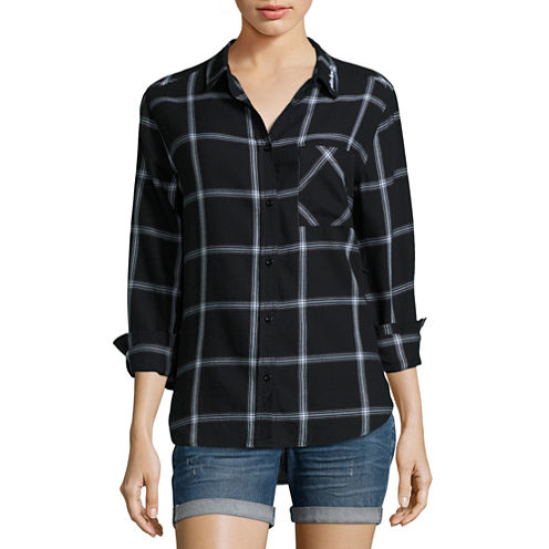 "Arizona ""Fall in Love"" Long-Sleeve Boyfriend Plaid Shirt - Juniors"