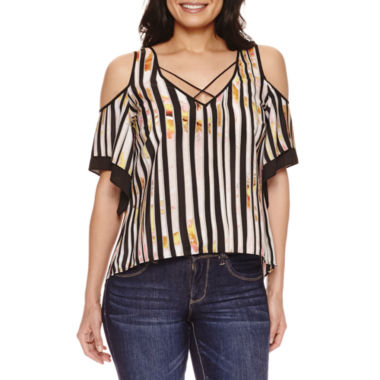 jcpenney.com | Bisou Bisou Cold Shoulder Cage Top