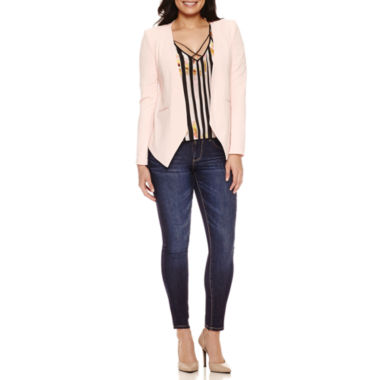 jcpenney.com | Bisou Bisou Seamed Open Blazer, Cold Shoulder Cage Top or 5-Pocket Denim Skinny