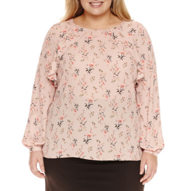jcpenney.com | Worthington® Long Sleeve Ruffle Woven Blouse - Plus