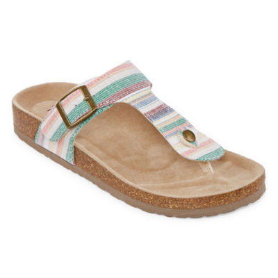 357c93b27132 Arizona French Womens T-Strap Footbed Sandals - JCPenney