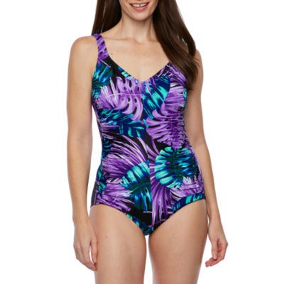 Azul By Maxine Of Hollywood Leaf One Piece Swimsuit Color