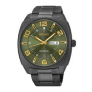 Seiko® Recraft Mens Black Stainless Steel Automatic Watch SNKN35