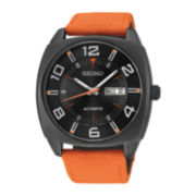 Seiko® Recraft Mens Orange Nylon Strap Automatic Watch SNKN39