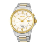 Seiko® Mens Two-Tone Stainless Steel Kinetic Watch SKA672