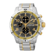 Seiko® Mens Two-Tone Stainless Steel Chronograph Solar Watch SSC304