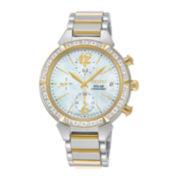 Seiko® Womens Diamond Chronograph Solar Bracelet Watch SSC866