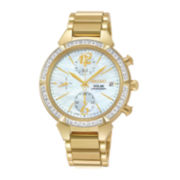 Seiko® Womens Diamond Chronograph Solar Bracelet Watch SSC864