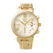 Seiko® Womens Gold-Tone Stainless Steel Chronograph Solar Bracelet Watch SSC858