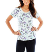 Ambrielle® Lace-Accented Short-Sleeve Sleep Tee