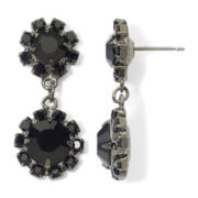 Vieste® Jet Rhinestone Hematite Double-Drop Earrings