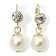 Monet® Stimulated Pearl and Crystal Drop Earrings
