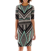 Bisou Bisou® Elbow-Sleeve Textured Print Dress