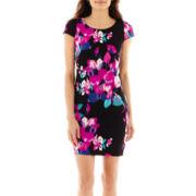DR Collection Cap-Sleeve Floral Print Sheath Dress - Petite