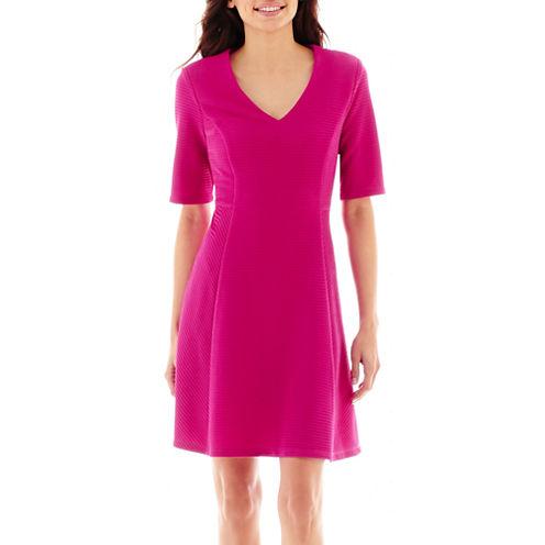 R&K Originals® Elbow-Sleeve Ribbed Jersey Knit Dress - Petite
