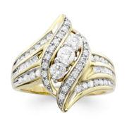 1 CT. T.W. Diamond 10K Yellow Gold 3-Stone Crossover Ring