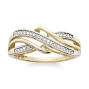 1/6 C.T. T.W. Diamond 10K Yellow Gold Criss-Cross Ring