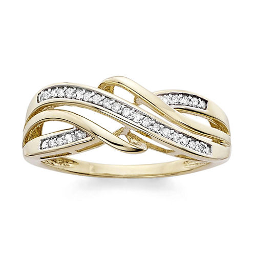 1/7 C.T. T.W. Diamond 10K Yellow Gold Criss-Cross Ring