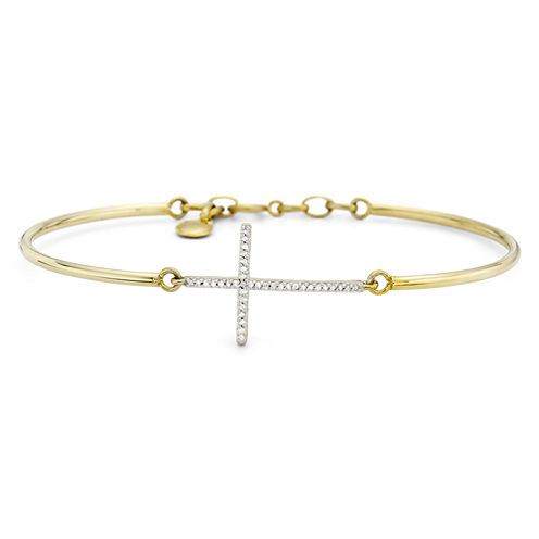 1/10 CT. T.W. Diamond 14K Yellow Gold Over Sterling Silver Cross Bangle