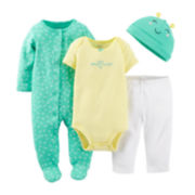 Carter's® 4-pc. Bodysuit, Pants and Hat Set – Girls newborn-9m