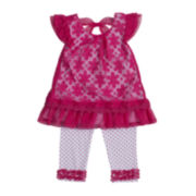 Little Lass Daisy Top and Dot Capri Set – Girls 2t-4t