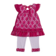 Little Lass Lace Top and Dot Capri Set – Girls 4-6x