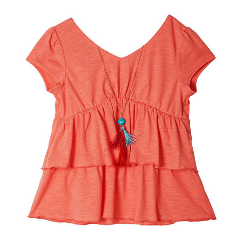 by&by Girl Cap-Sleeve Necklace Top - Girls 7-16