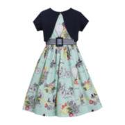 Bonnie Jean® Print Dress with Cardigan — Girls 7-16