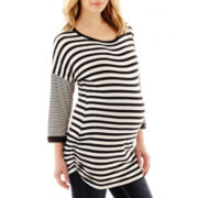 Maternity 3/4-Sleeve Multi-Striped Ruched Tee