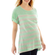 Maternity Short-Sleeve Woven-Yoke Striped Tee