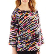 Maternity 3/4-Sleeve Woven-Front Knit-Back Blouse