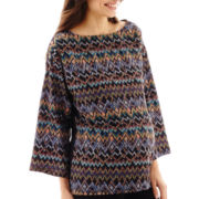 Maternity 3/4-Sleeve Woven-Front Knit-Back Blouse - Plus