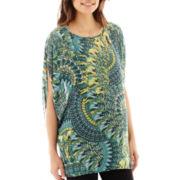 Maternity Short-Sleeve Woven Print Kimono Top