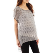 Maternity Short-Sleeve Sheer Drape-Back Blouse - Plus