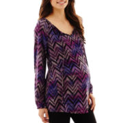 Maternity Long-Sleeve Tie-Front Peasant Top - Plus