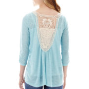 Almost Famous Elbow-Sleeve Crochet-Back Top