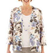 Alfred Dunner® Lake Como 3/4-Sleeve Floral Layered Top with Necklace - Petite
