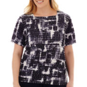 Alfred Dunner® Fresh Take Short-Sleeve Tiered Ombre Top - Plus