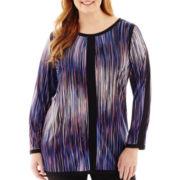 Worthington® Long-Sleeve Colorblock Tunic Top - Plus