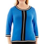 Worthington® 3/4-Sleeve Piped Scoopneck Sweater - Plus