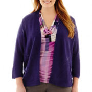 Worthington® Open-Front Pointelle Cardigan Sweater - Plus