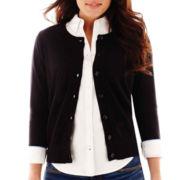 Stylus™ 3/4-Sleeve Crewneck Cardigan Sweater