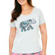 Insomniax® Short-Sleeve Screen Print Sleep Tee - Plus