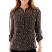 a.n.a® Long-Sleeve Pleated Mandarin Collar Blouse