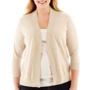 St. John's Bay® Open-Front Slub Cardigan Sweater - Plus